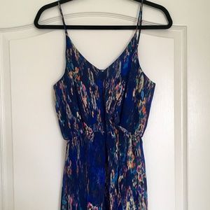 Lush blue print high low maxi dress